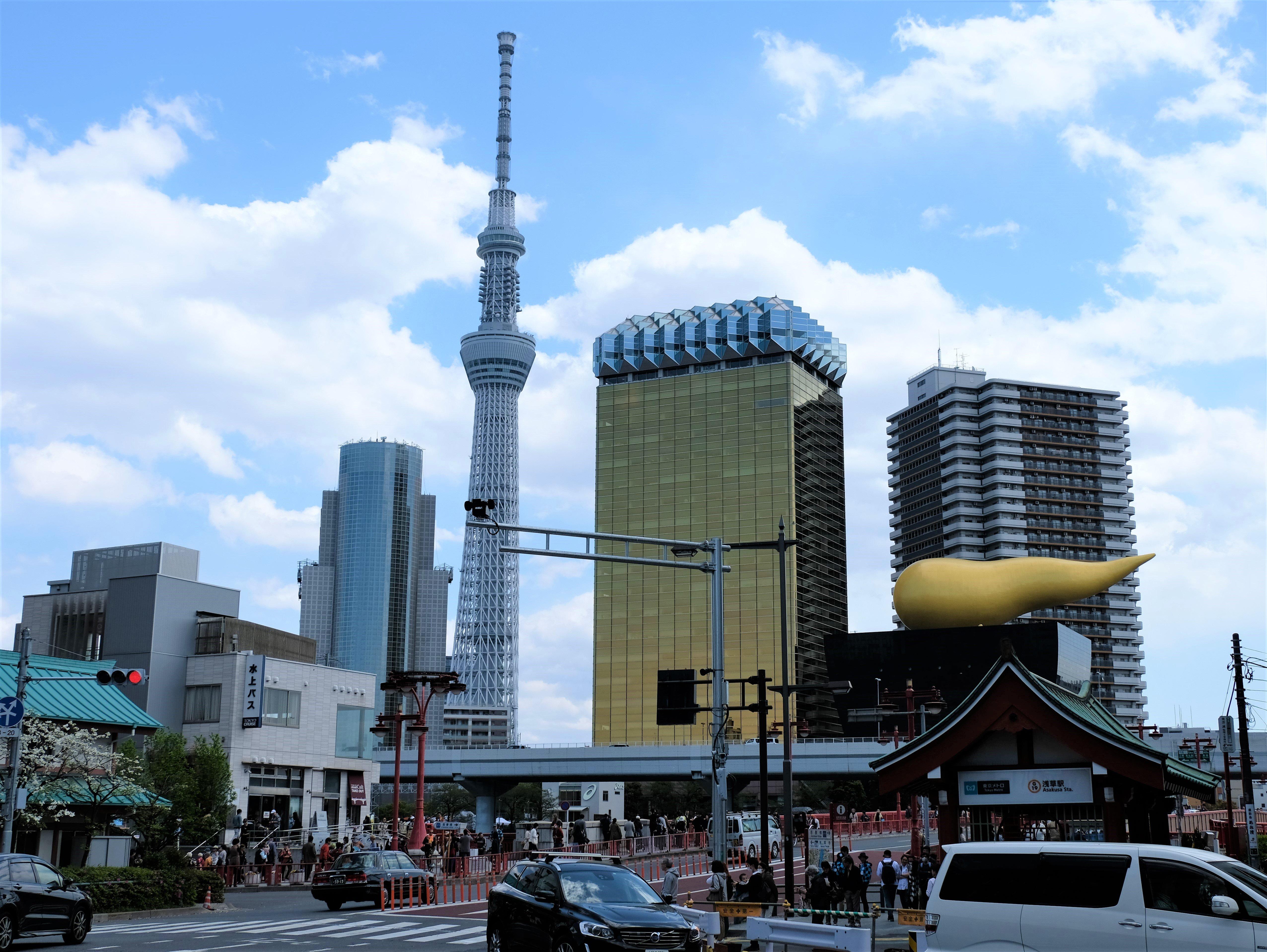 Tokyo Skytree, Asahi Beer Hall and Asahi Flame